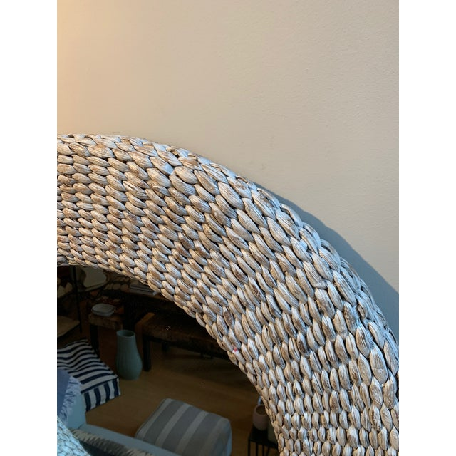 Contemporary Rattan White Washed Round Wall Mirror For Sale - Image 3 of 4
