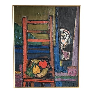 20th Century Abstract Still Life Oil on Canvas For Sale