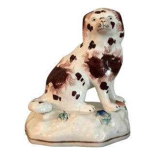 Early 19th Century Staffordshire Spaniel Hollow Base Figurine For Sale