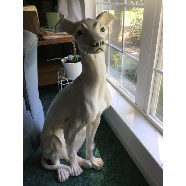 American Vintage Ceramic Life Size Greyhound Dog For Sale - Image 3 of 12