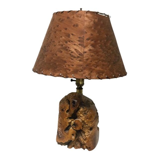 Mid-Century Naturalistic Burl Wood Lamp For Sale