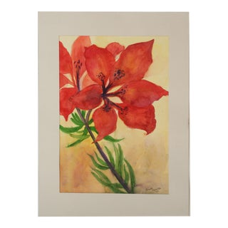 Vintage Watercolor Christmas Flower For Sale