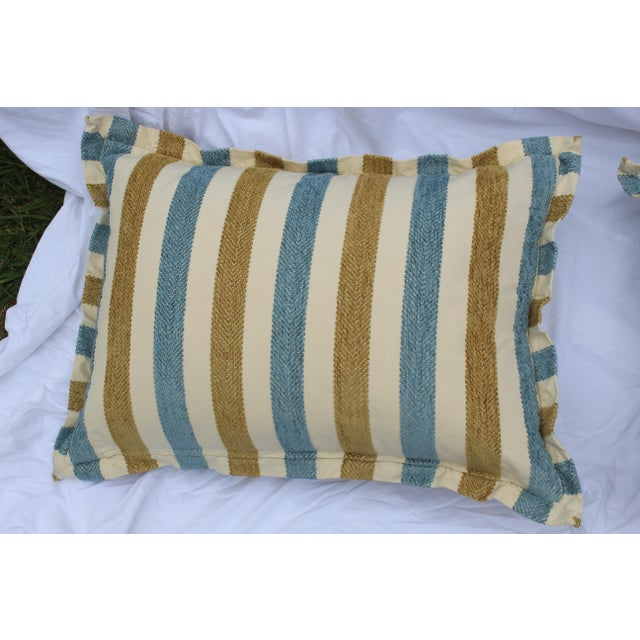Early 21st Century Contemporary Striped Silk DownContemporary Striped Silk Down Pillows - a Pair For Sale - Image 5 of 13
