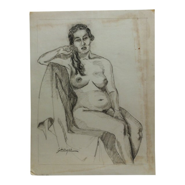 """1953 Vintage """"Playing With Hair - Nude"""" Tom Sturges Jr. Original Drawing For Sale"""
