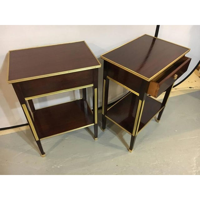 Wood Pair of One Drawer Russian Style Bronze-Mounted Tables For Sale - Image 7 of 8