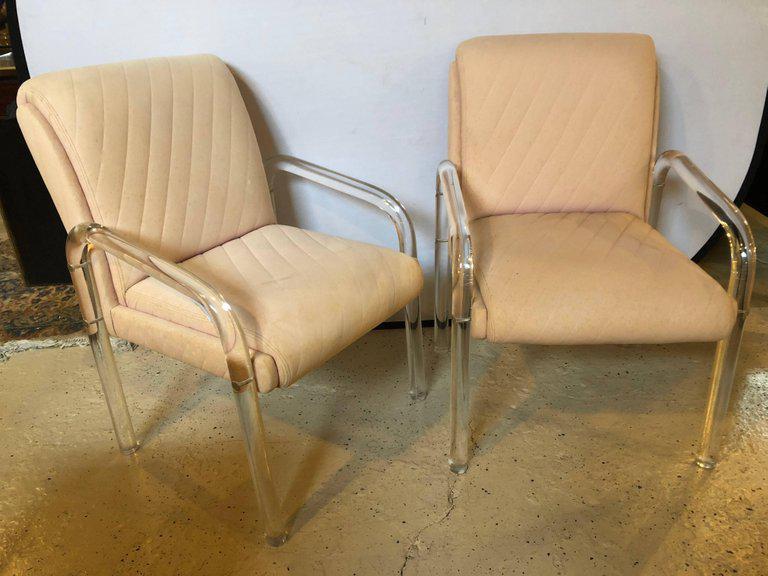 Mid 20th Century Baughman Mid Century Modern Lucite Overstuffed Armchairs U  Shaped   Set Of 4