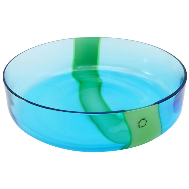 V. Nasson & Co. Vintage Hand Blown Murano Glass Bowl For Sale