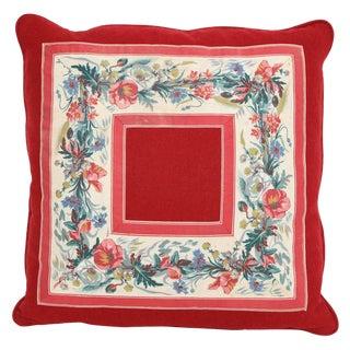Vintage Floral Trim Pillow For Sale