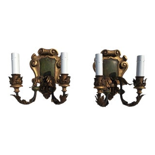 Hollywood Regency Wall Sconces - a Pair For Sale