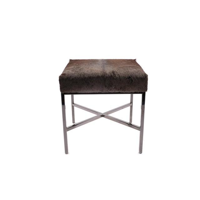 Modern Black Chrome & Wildebeest Upholstered Bench For Sale - Image 3 of 3