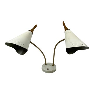 Mid-Century Double Cone Desk Lamp Attributed to Gerald Thurston For Sale