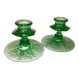 1920's Antique Green Etched Glass Candle Holders- A Pair For Sale
