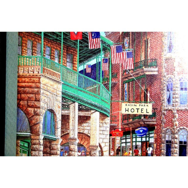"""1993 """"Street Scene"""" Framed and Matted Color Print Signed Johnny Ray For Sale - Image 4 of 11"""