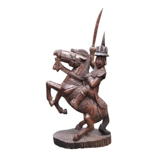 Early 20th Century Burmese Nat Warrior on Horseback Wood Carving For Sale