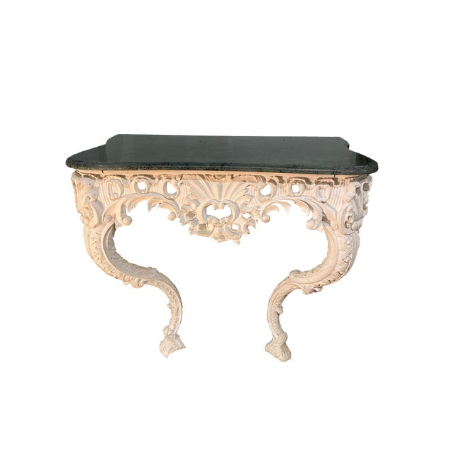 20th Century Shell Carved Italian Marble Wall Console For Sale