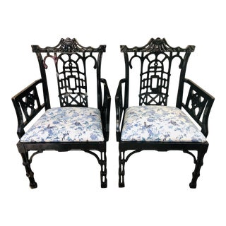 Faux Bamboo Pagoda Armchairs- A Pair For Sale