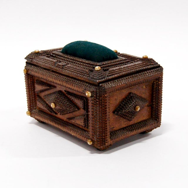 Textile Antique French Tramp Art Sewing Box with Raised Velvet Green Pin Cushion For Sale - Image 7 of 10