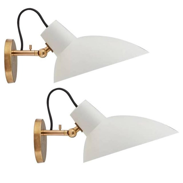 Italian Vittoriano Viganò 'Vv Cinquanta' White Enamel and Gold Aluminum Wall Sconces - a Pair For Sale - Image 13 of 13
