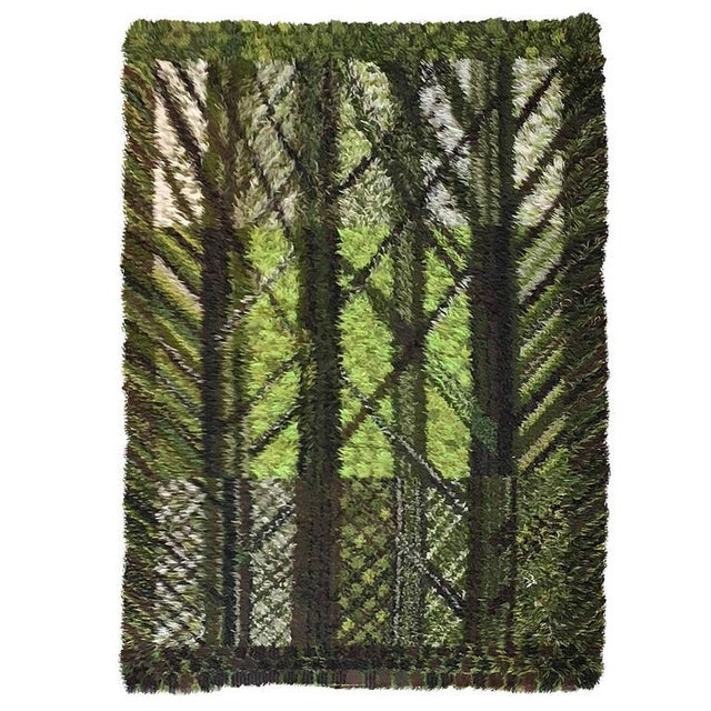 Vintage Marianne Richter Rya Forest of Wool Rug - 5′7″ × 7′7″ For Sale