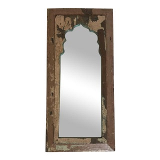 Vintage Indian Archway Painted Teak Mirror