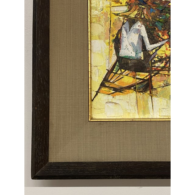 Canvas Vintage 1971 Signed Oil on Canvas Abstract Framed Art Painting Colorful For Sale - Image 7 of 8