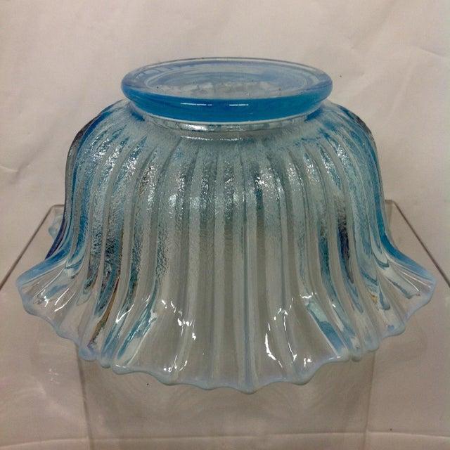 Vintage Blue Opalescent Art Glass Bowl - Image 5 of 5