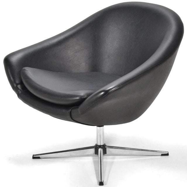 Overman Black Swivel Lounge Chair For Sale - Image 9 of 9