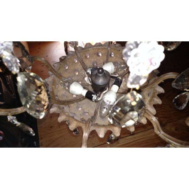 1840s Antique Iron Baguès French Cut Glass Dangles Chandelier For Sale - Image 9 of 13
