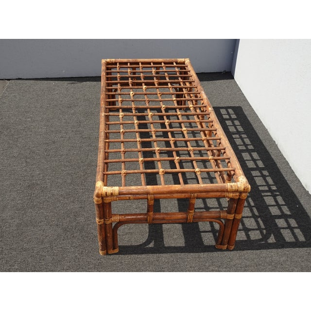 1970s Vintage Mid Century Brown Bamboo Rattan Rustic Coffee Table For Sale - Image 5 of 11