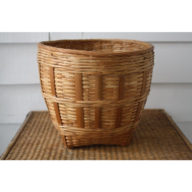 Vintage Woven Wicker Basket For Sale - Image 10 of 10