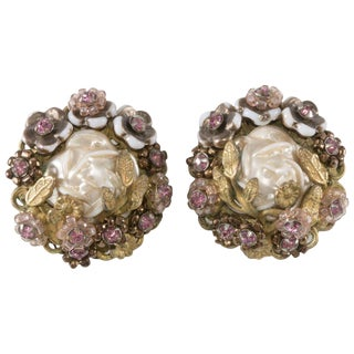 Eugene Earrings Pink Rhinestone Faux Pearl 1950s Glass Flowers Vintage For Sale