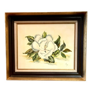 Magnolia Oil Painting, 1970, Signed