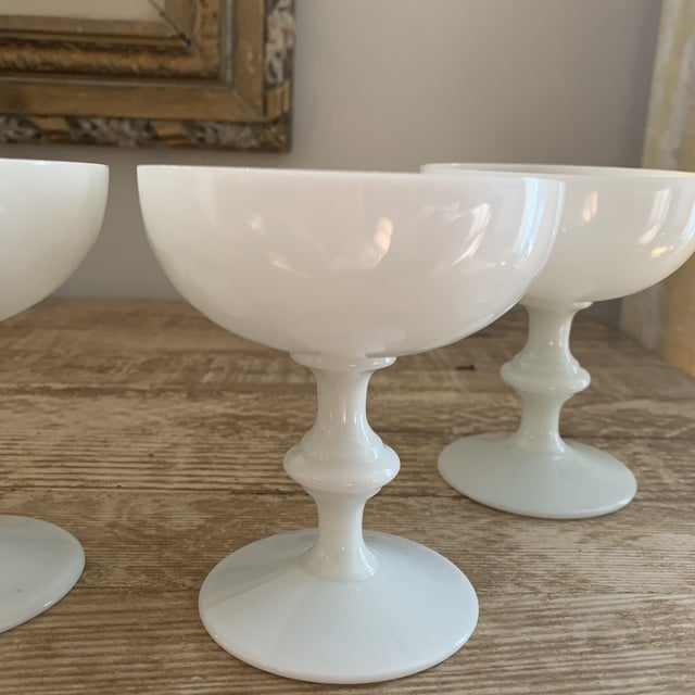French Portieux Vallerysthal French White Opaline Champagne Coupe Glasses- Four For Sale - Image 3 of 6