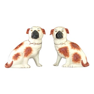 Vintage Staffordshire Porcelain Puppy Spaniels Dogs - a Pair For Sale