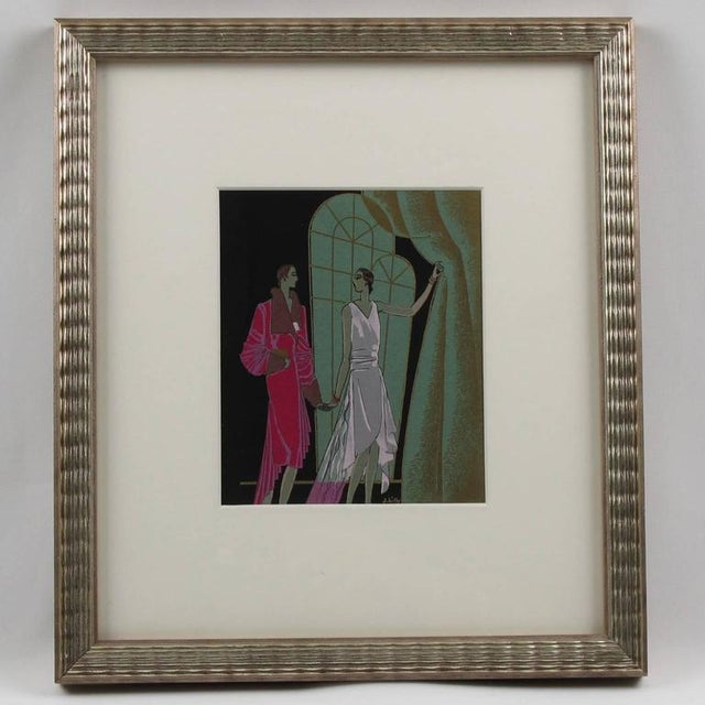 Original Art Deco illustration, hand-painted with Chinese ink and gouache on paper. Featuring two elegant women with large...