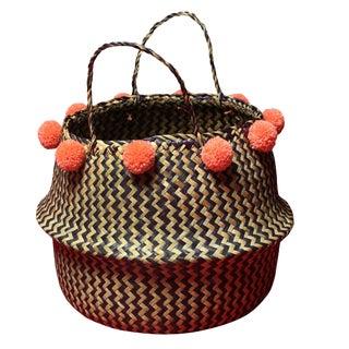 Borneo Zig-Zag Belly Basket With Salmon Pom-Poms For Sale