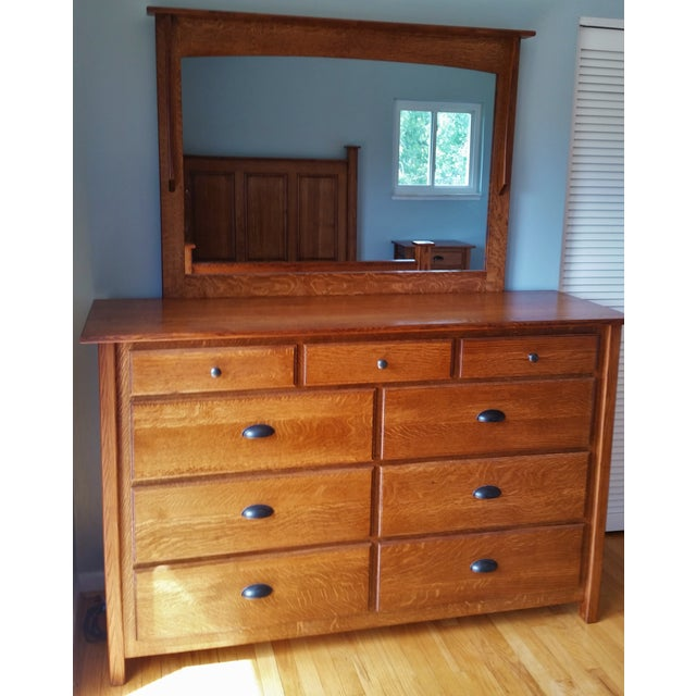Amish Handcrafted Mission Style 9 Drawer Dresser W Mirror
