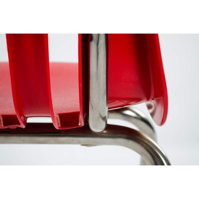 Metal Virco Mid-Century Red Stacking School Chairs - Set of 4 For Sale - Image 7 of 12