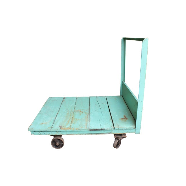 Turquoise Industrial Cart - Image 1 of 2