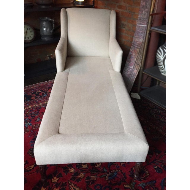 1940s Danish Chaise Lounge in Belgian Linen For Sale - Image 10 of 13