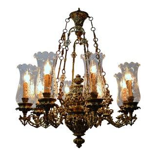 8 Light Brass Chandelier For Sale