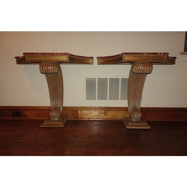 1940s Hollywood Regency Grosfeld House Faux Painted Consoles - a Pair For Sale - Image 11 of 11