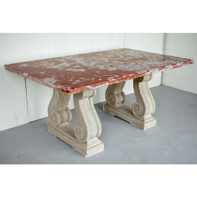 French Vintage Mid Century French Marble-Top Center Table For Sale - Image 3 of 12