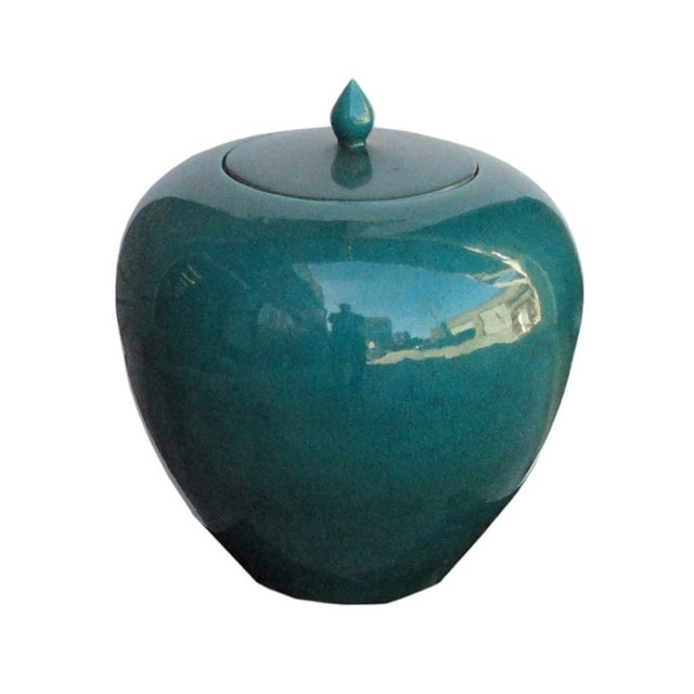 Chinese Teal Green Porcelain Ceramic Fat Jar - Image 2 of 5