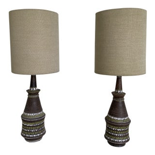 1970s Mid-Century Bitossi Italian Ceramic Table Lamps - a Pair For Sale