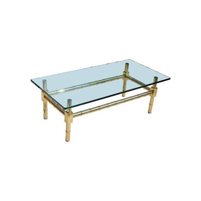 Metal 1970s Vintage Brass Faux Bamboo Chinese Chippendale Coffee Table For Sale - Image 7 of 7
