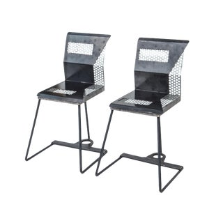 Unusual Pair of Perforated Metal Chairs For Sale