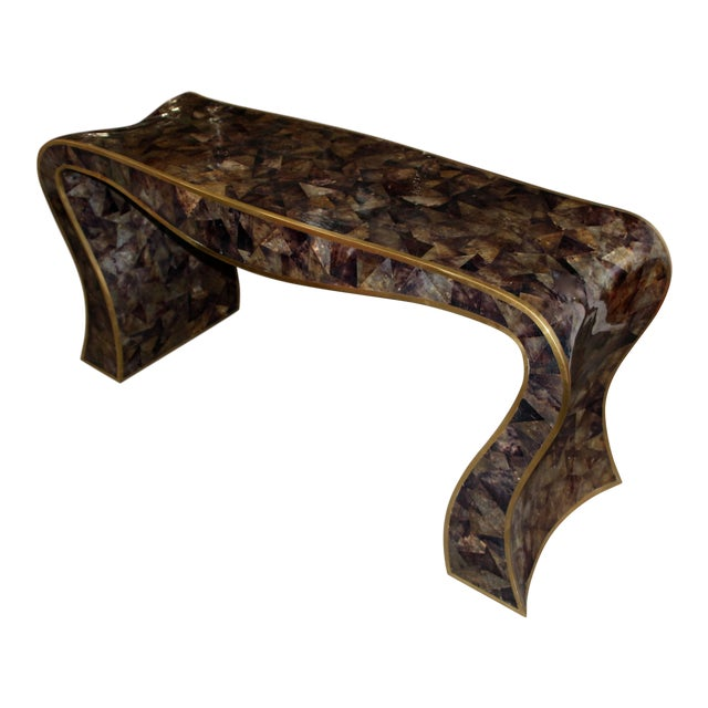 Maitland-Smith Tessellated Horn and Brass Trimmed Sculptural Console Table For Sale