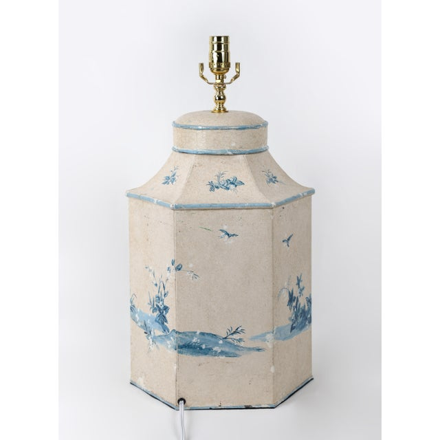 Metal Vintage Hand-Painted British Export Tea Caddy Table Lamp For Sale - Image 7 of 10