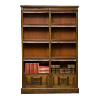 English Victorian Walnut Open Bookcase For Sale